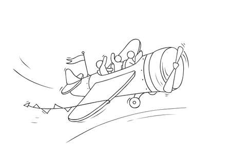 Sketch of little people fly on plane. Doodle cute miniature scene about transportation. Hand drawn cartoon vector illustration for vacation design.