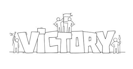 Sketch of little people with word Victory. Doodle cute miniature scene about leadership. Hand drawn cartoon vector illustration.