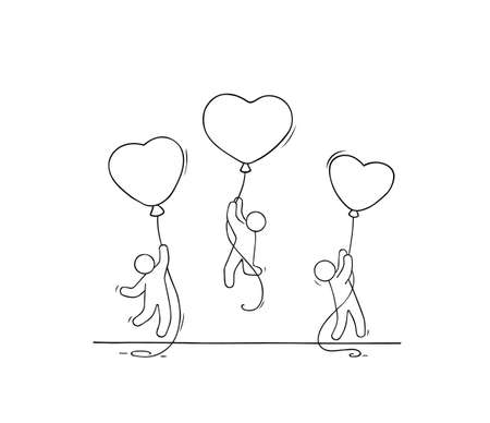 Sketch of working little people with romantic balloons. Doodle cute miniature scene of workers about love. Hand drawn cartoon vector illustration.