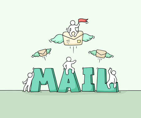 Sketch of little people with word Mail. Doodle cute miniature scene about post. Hand drawn cartoon vector illustration.