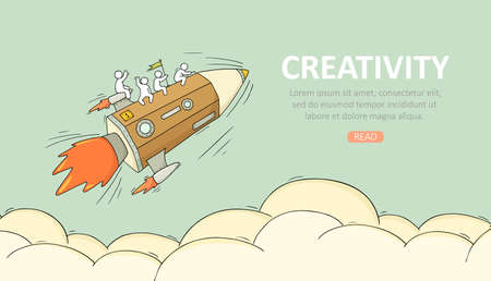 Business temblate with launch pencil. Doodle cute miniature scene about creativity. Hand drawn cartoon vector illustration. Иллюстрация