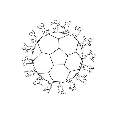Cartoon happy little people standing around the ball. Doodle cute miniature scene of workers about soccer. Hand drawn cartoon vector illustration.