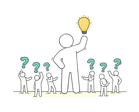 Sketch - crowd of working people with question sings and lamp idea. Doodle cute miniature teamwork find the right decision. Hand drawn cartoon vector illustration for business design.