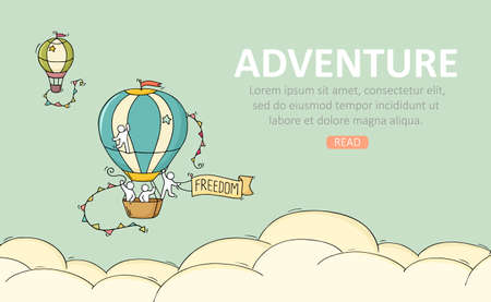 Travel temblate with air balloon. Doodle cute miniature scene about adventure. Hand drawn cartoon vector illustration.