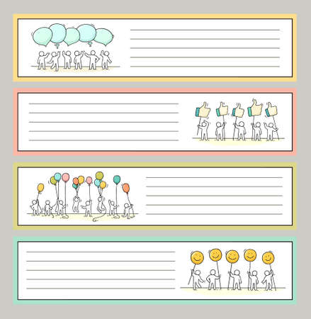 Collection of cute notes for stickers, tags. Template for greeting cards, notebooks, school accessories. Doodle hand-drawn vector illustration with cartoon people.