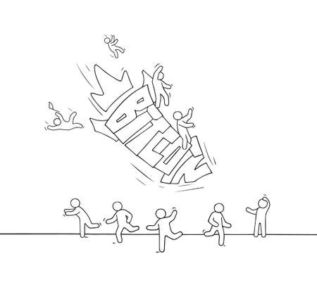 Sketch of little people and falling word Bitcoin. Doodle miniature scene about cryptocurrency. Hand drawn cartoon vector illustration.