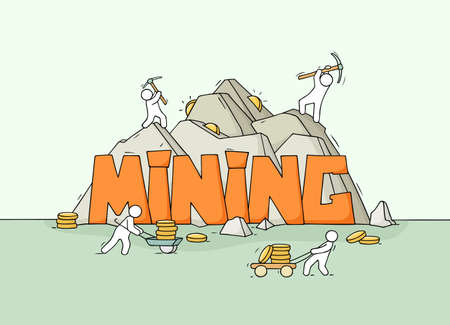 Sketch of little people with word Mining. Doodle cute miniature scene about production cryptocurrency. Hand drawn cartoon vector illustration.