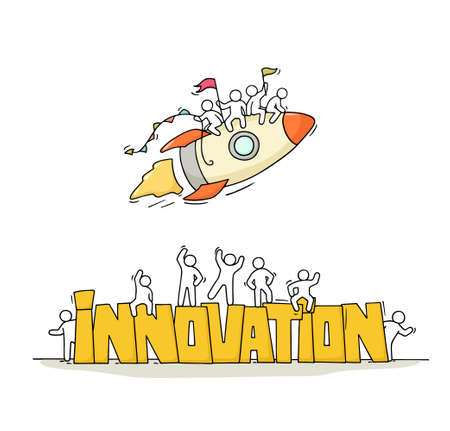 Sketch of working little people with fly rocket, word Innovation. Doodle cute miniature scene of workers. Hand drawn cartoon vector illustration for business design. Ilustração Vetorial