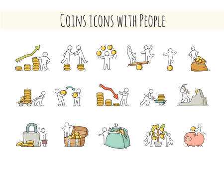 Sketch set with little people and coins. Doodle cute finance objects. Hand drawn cartoon vector illustration for business design.