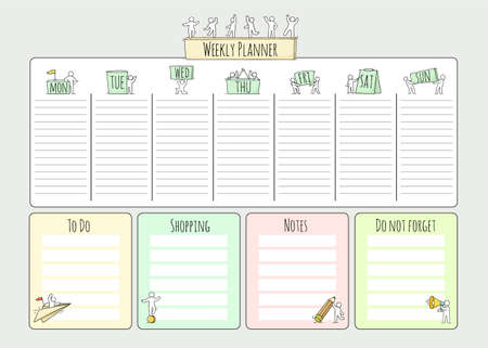 Cartoon weekly planner with people. Template for wrapping, notebooks, diary, school accessories. Doodle hand drawn vector illustration for kids.