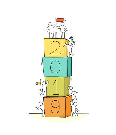 2019 Happy New Year background. Cartoon doodle illustration with liitle people prepare to celebration. Hand drawn vector illustration. Ilustrace