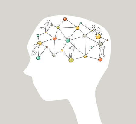 Cartoon brain functions with little people. Doodle vector illustration for psychology and creative design. Ilustrace