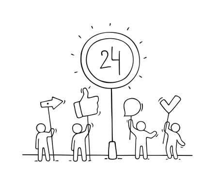 Sketch of people support. Doodle cartoon little men and signs. Hand drawn vector illustration for business design.