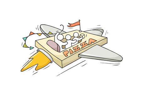Sketch flying little people on pizza. Doodle cute miniature scene about fast delivery. Hand drawn cartoon vector illustration for food design.