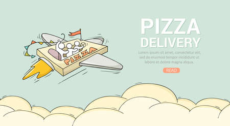 Sketch flying little people on pizza. Doodle cute miniature scene about fast delivery with space for text. Hand drawn cartoon vector illustration for food design. Ilustrace