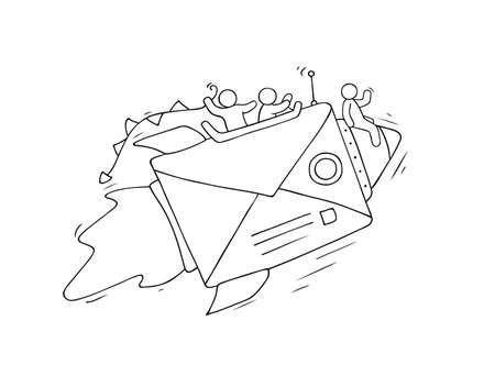 Sketch of working little people with flying envelope. Doodle cute miniature scene of workers. Hand drawn cartoon vector illustration for business design.