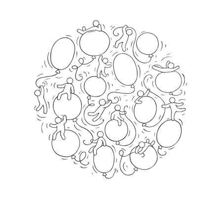 Cartoon circle illustration with baloons. Comic hand drawn template with little people. Vector isolated on white background.