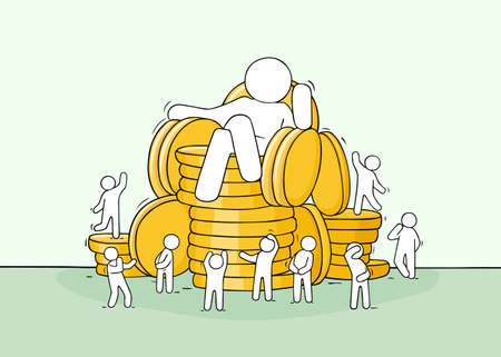 Sketch scene with big boss, little people, stack of coins. Doodle miniature about power and wealth. Hand drawn cartoon vector illustration for business design.