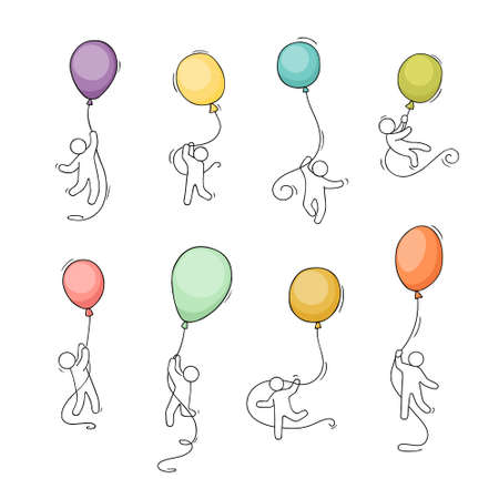 Cartoon little people with baloons. Comic hand drawn template with little people. Vector isolated on white background.