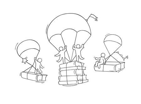 Sketch studing little people. Doodle cute miniature with parachute and books. Hand drawn cartoon vector illustration for education design. Ilustrace