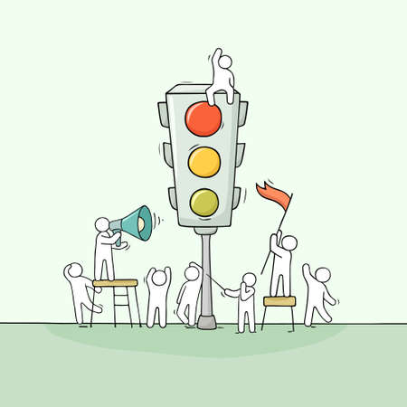 Cartoon men with traffic light. Doodle scene about road safety. Hand drawn vector illustration for warning design. Ilustrace