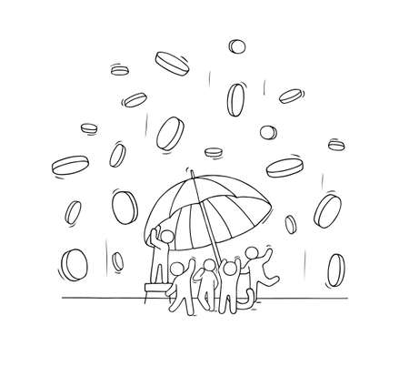 Sketch little people with falling coins and umbrella. Doodle cute scene with money. Hand drawn cartoon vector illustration for finance design.