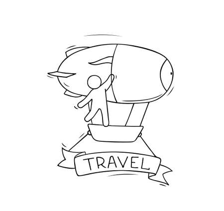 Sketch of little man fly on aerostat. Doodle cute miniature scene about transportation. Hand drawn cartoon vector illustration for vacation design.