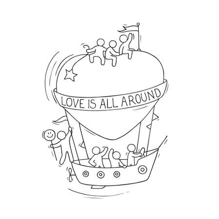 Sketch of fly big heart with cute little people. Doodle cute miniature romantic scene about love. Hand drawn cartoon vector illustration for valentine day design. Ilustrace