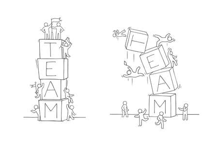 Cartoon little people with word Team. Hand drawn scene about cooperation. Vector isolated on white background. Ilustrace