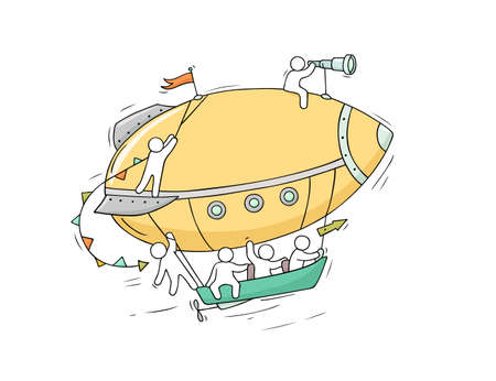 Sketch of little people fly on aerostat. Doodle cute miniature scene about transportation. Hand drawn cartoon vector illustration for vacation design.