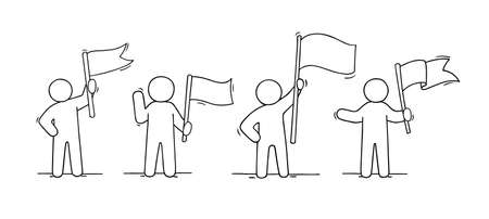 Sketch set of men with flags. Doodle cute concept about about power. Hand drawn cartoon vector illustration for business design.