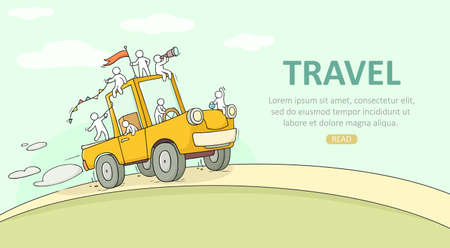 Sketch of little people travel on big car. Doodle cute miniature scene about weekend. Hand drawn cartoon vector illustration for vacation design.