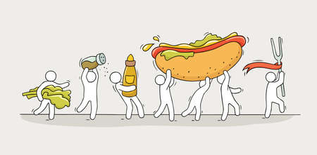 Cartoon little people cooking hot dog. Doodle cute miniature scene of workers with fast food. Hand drawn vector illustration for menu design.