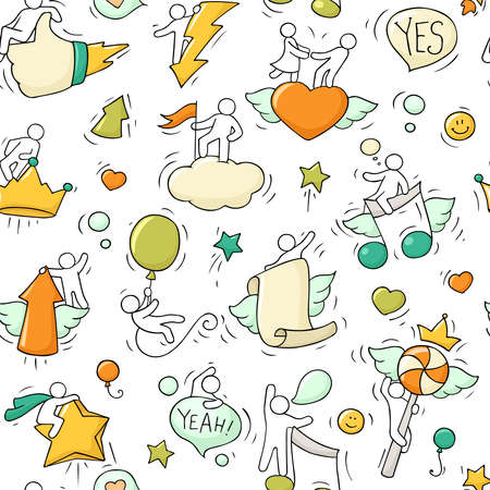 Cartoon seamless pattern with lifestyle symbols. Comic hand drawn temlate with little people.