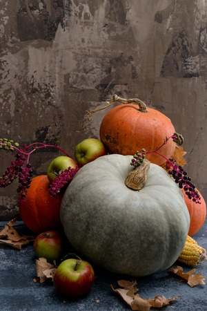 christendom: Autumn composition with autumn fruits, corn and pumpkins Stock Photo