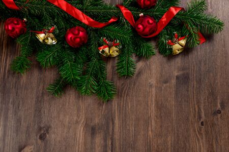Christmas white wooden background top view. Template for New Year space for text