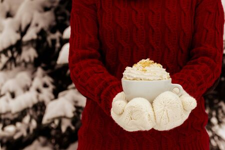 Womens hands holding a cup of hot drink. Winter and Christmas time concept