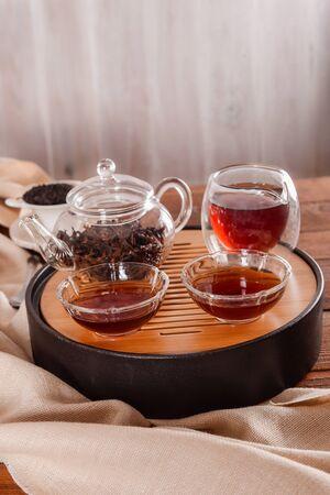 Traditional chinese tea ceremony accessories tea pair shot closeup