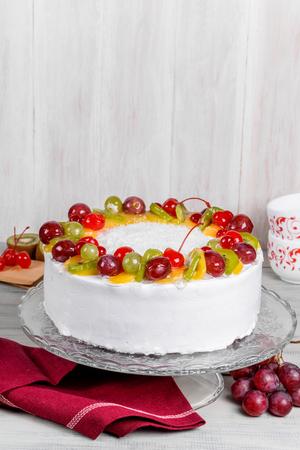 Fruit white cake shot close-up in decor