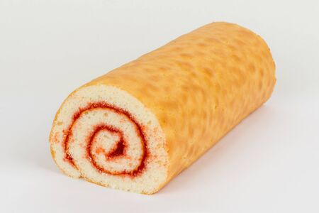 Sweet roll with a filling shot on a white background shot close-up