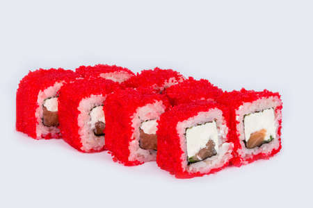Sushi shot on a white background side view for cutting Reklamní fotografie