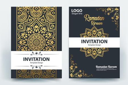 Ramadan Kareem Mubarak Brochure template design vector Illustration