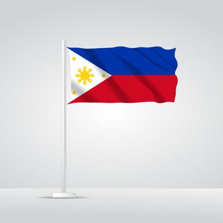 3D realistic philippines flag waving wind vector Illusztráció