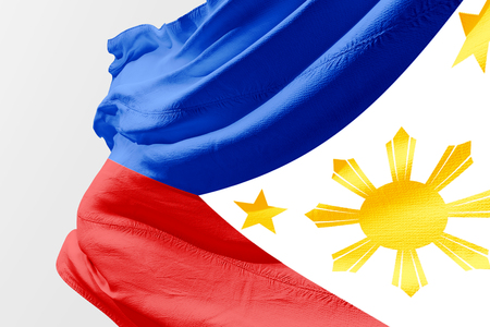 Isolated Philippine Flag waving 3d Realistic fabric