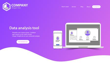 New Trendy Website Landing Page vector theme template design Stock Illustratie