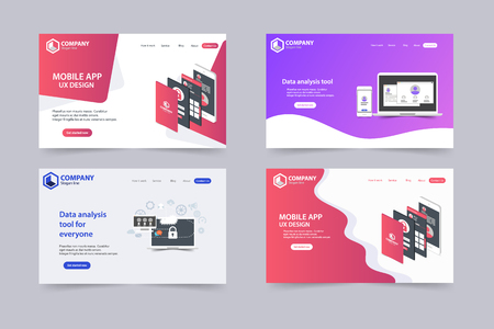 New Trendy Website Landing Pages vector theme template design Stock fotó - 105943067