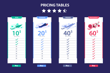 Pricing Table 4 Different Plane Vector Template Dark Concept Design