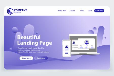 beautiful Landing Page website Template Design concept vector Vector Illustration