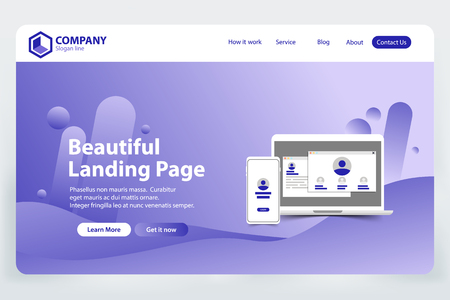 beautiful Landing Page website Template Design concept vector