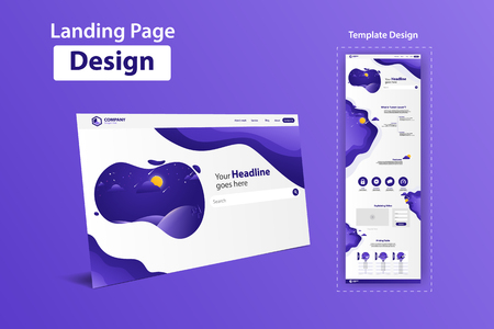 New Trendy Landing Page Website Vector Template Design  イラスト・ベクター素材